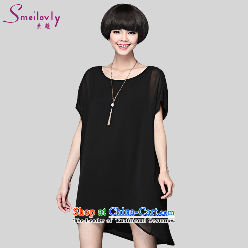 The director of King boutique catty 200 code women thick mm summer Korean short-sleeved chiffon dresses loose thin black large code 5XL 2905 around 922.747 200