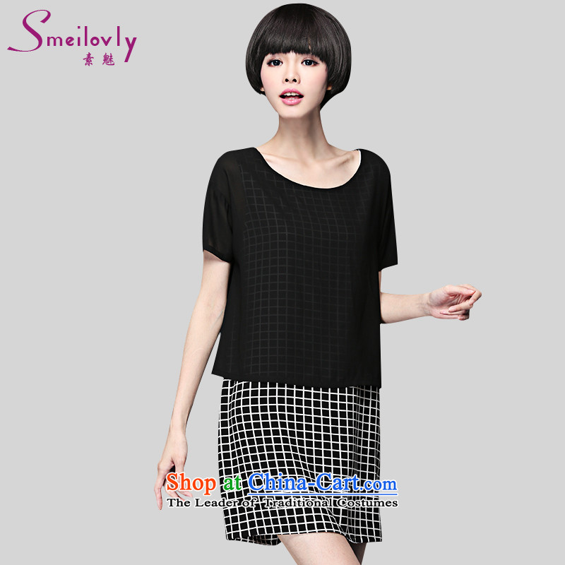 Of staff to increase the burden of 200 yards women thick mm summer leave two checked short-sleeved chiffon dresses 2897 Black Large Code 4XL around 922.747 180
