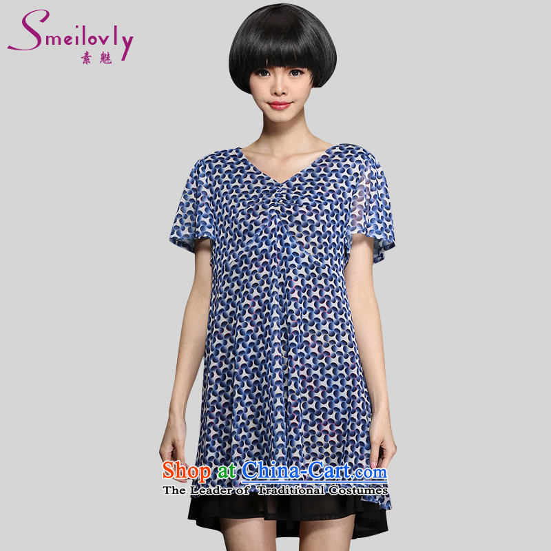 The director of King boutique catty 200 code women thick mm summer leave high-lumbar short-sleeved chiffon dresses28.7large blue 5XL code around 922.747 200