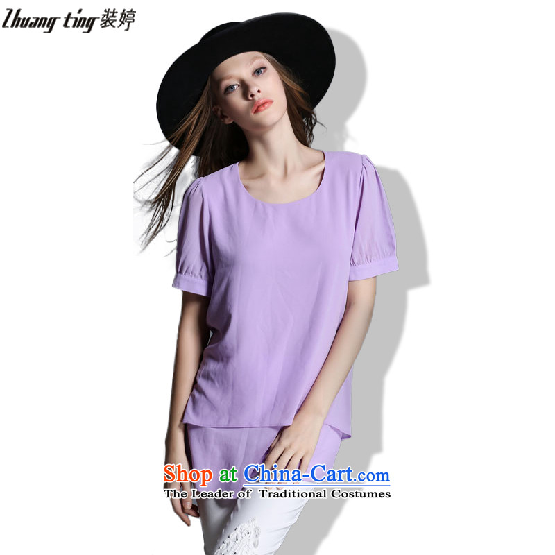 Replace Ting zhuangting2015 summer Western New larger female loose round-neck collar Solid Color Sleek and versatile T-shirt T-shirt 1972 purple�L