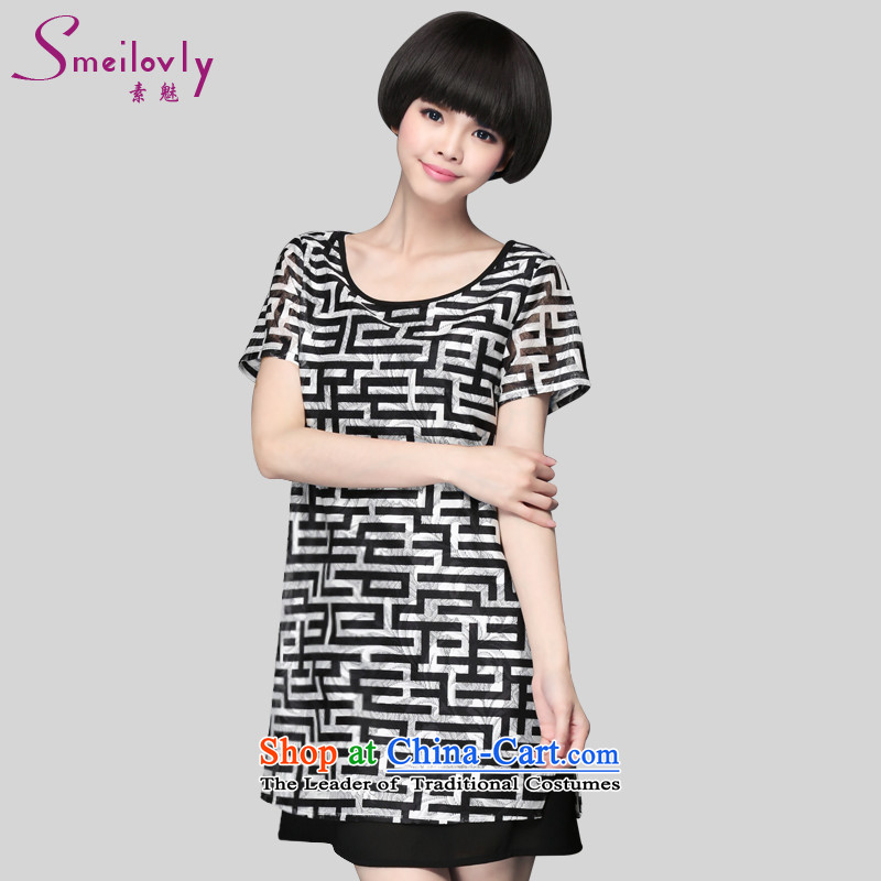 Boutique to increase women's code thick mm summer Korean short-sleeved stylish loose chiffon dresses 2909 large black and white 4XL around 922.747 180