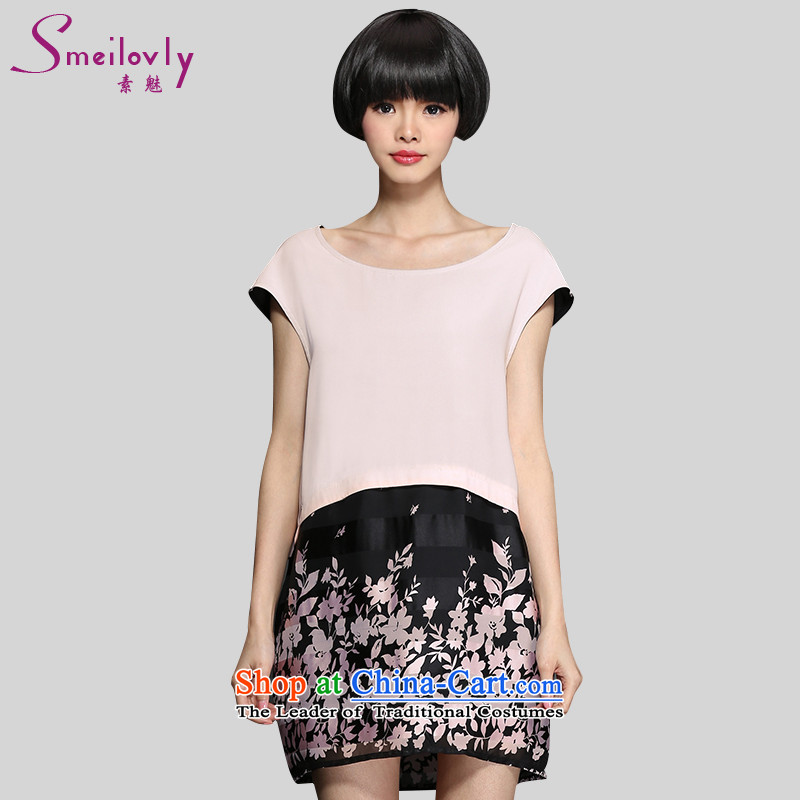 The director of King boutique catty 200 code women thick mm summer stamp short-sleeved chiffon dresses lanterns skirt 2868 pink larger 3XL around 922.747 160