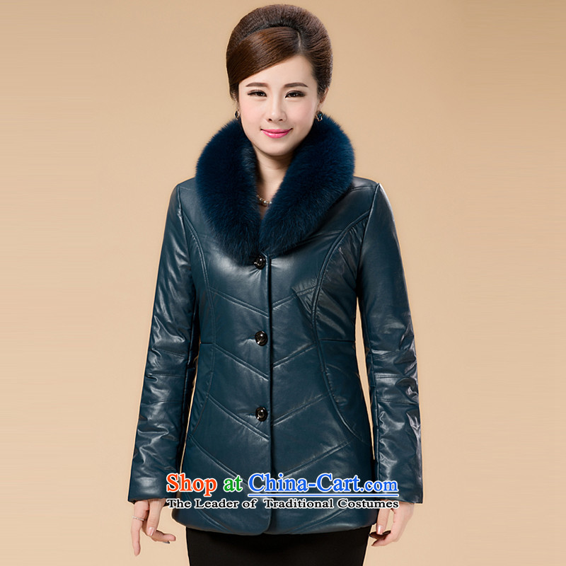 In the number of older women in Haining leather garments long xl fur coat middle-aged female loaded with alpaca wool mother coat cotton coat聽8808 Blue聽4XL