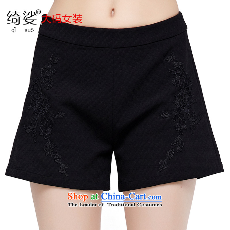 As provided for by 2015 Summer new larger female Korean wild video thin thick sister large straight legged pants small shorts聽2866聽Black聽2XL