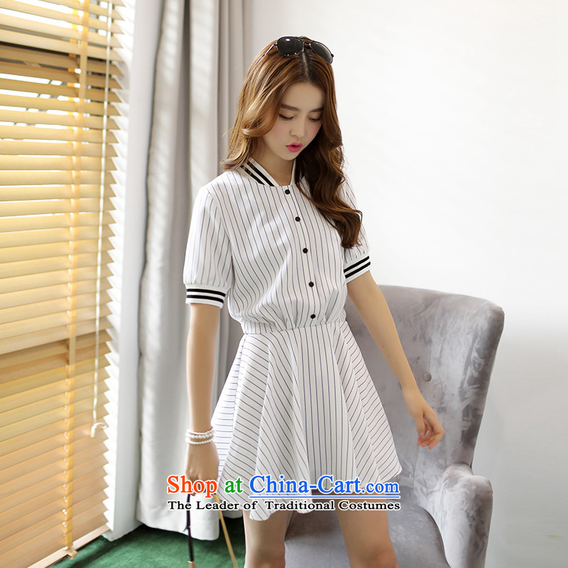 American Samoa Nika larger women 2015 Korean new summer_ thick mm stripe movement video thin short-sleeved dresses streaks聽XL