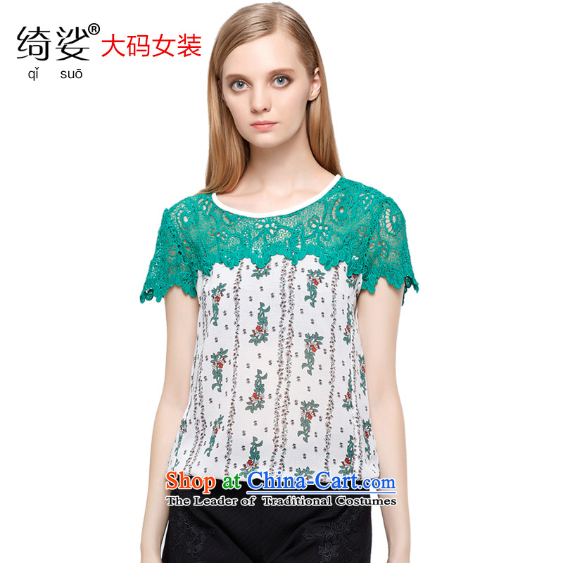 As provided for by 2015 Summer new larger female lace stitching small saika video thin large short-sleeved T-shirt�21燝reen�L