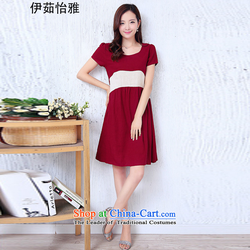 El-ju Yee Nga thick sister summer larger female cotton linen dresses YJ0287聽XXXL red