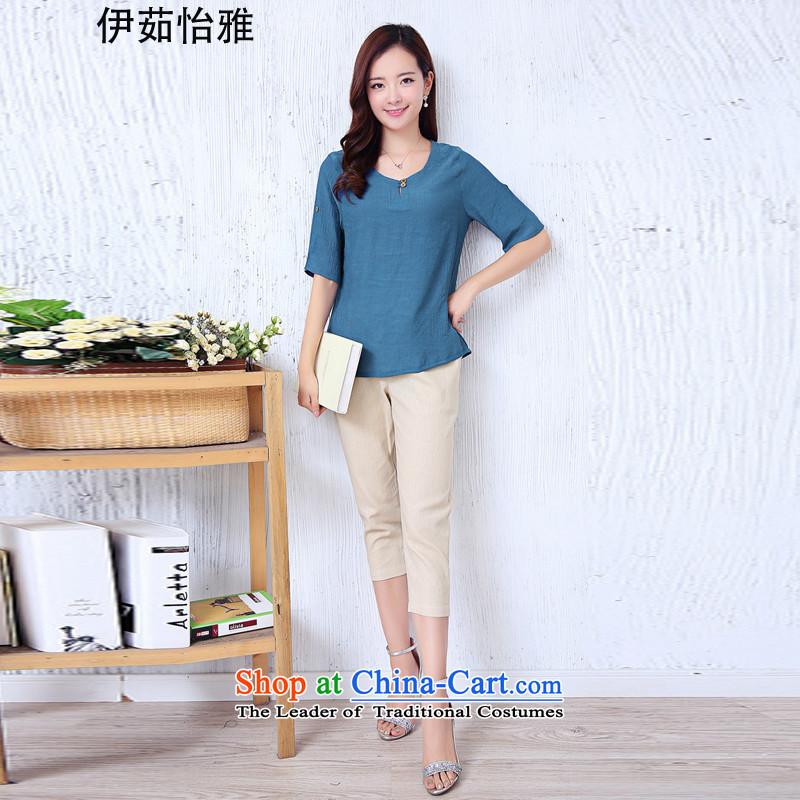 El-ju Yee Nga thick sister summer larger female cotton linen T-shirt + Capri two kits YJ0281 BLUE燣