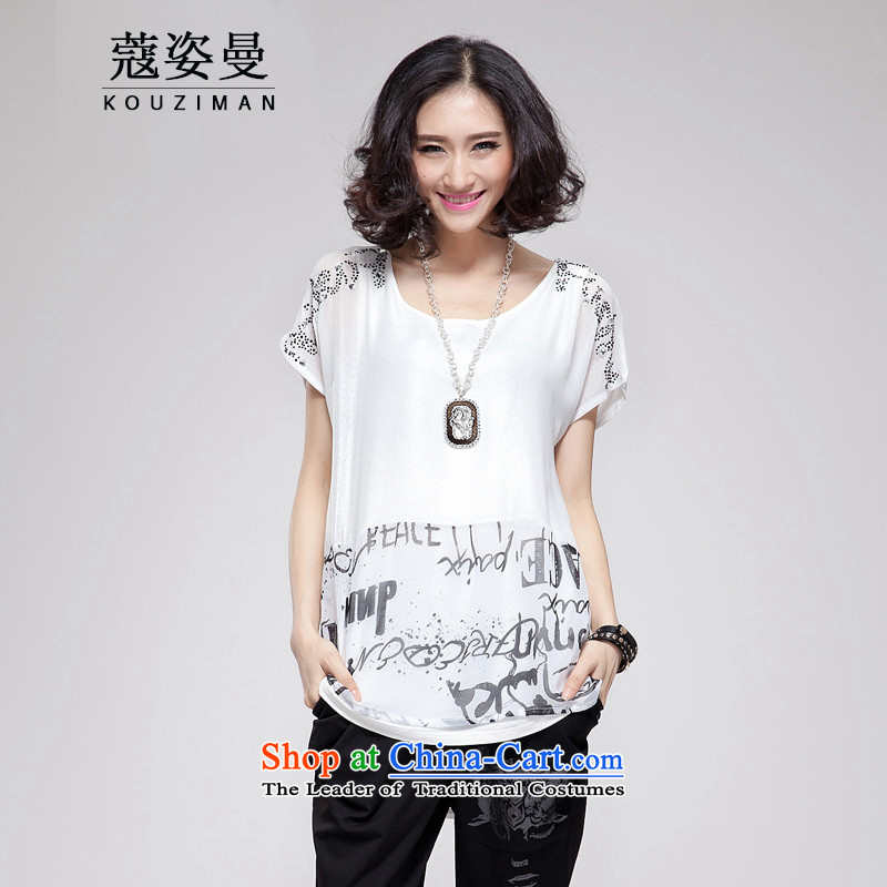 Khao Lak Gigi Lai Cayman xl thick mm Summer 2015 large female European and American Girl, short-sleeved T-shirt chiffon shirt thick sister long loose video thin, small white code _95 - 125 catties catty to pass through_