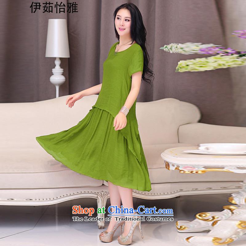 El-ju Yee Nga thick sister summer larger female cotton linen dresses YJ 086 fruit green燲L