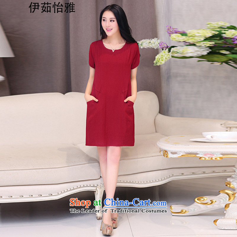 El-ju Yee Nga thick sister summer new larger female cotton linen dresses YJ087 BOURDEAUX聽XXXL