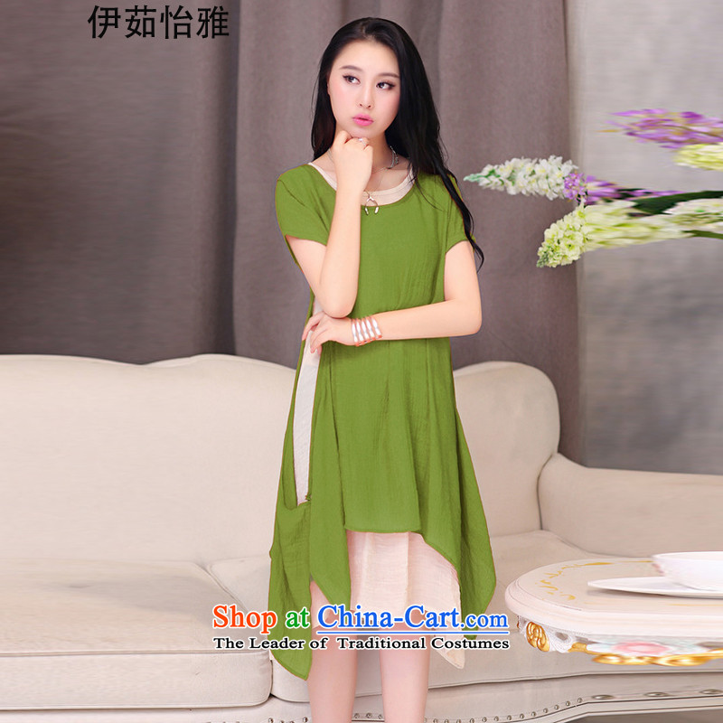 El-ju Yee Nga thick sister summer larger female cotton linen dresses two kits YJ083燲XXL green