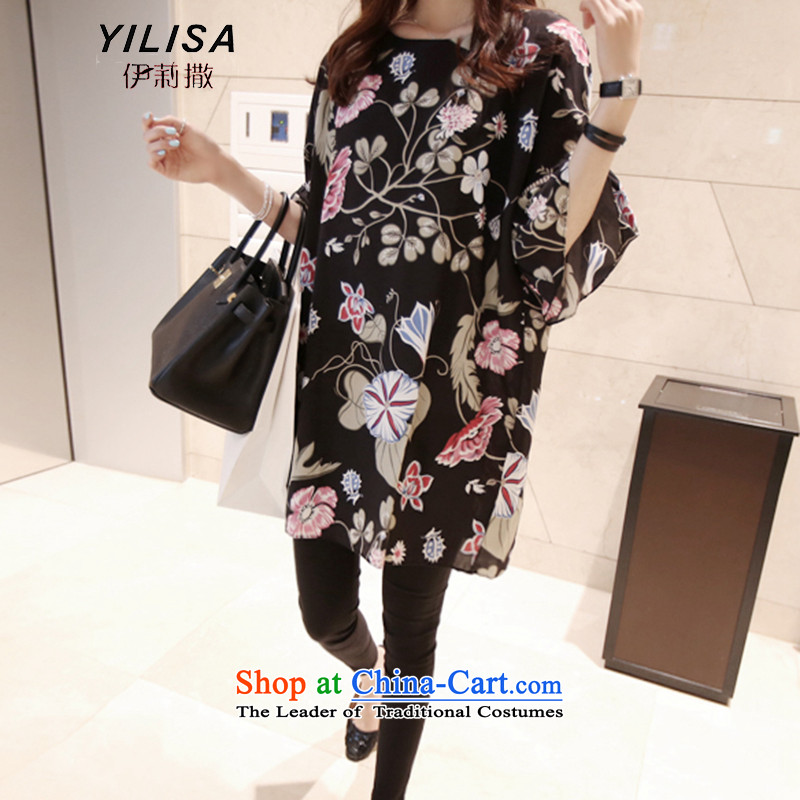 Elizabeth sub-to increase women's summer code new dress thick mm Loose Cuff plants stamp video horn thin pregnant women install aging dresses K253 Black燲L