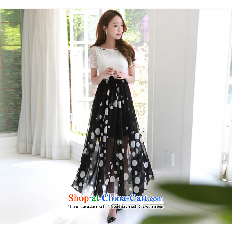 C.o.d. 2015 Summer new stylish atmosphere Korean word sexy for bubbles short-sleeved lace stitching chiffon wave point elegant slim skirt White燲L Graphics