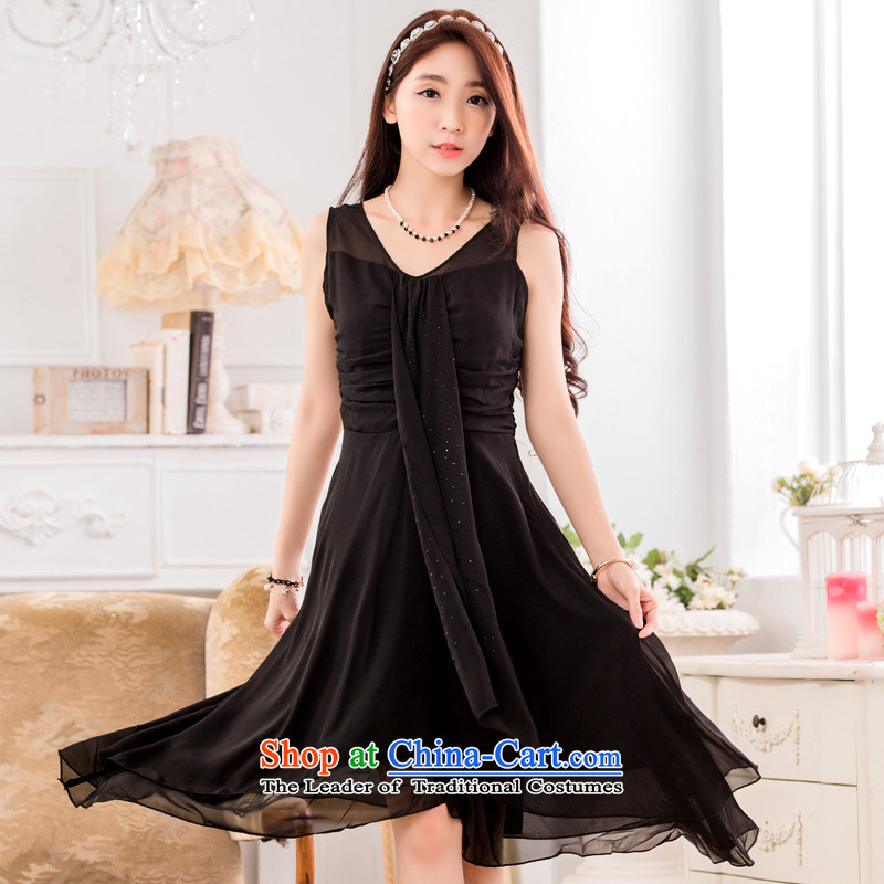 C.o.d. 2015 Summer new stylish sexy Korean elegant ironing drill video under the rules do not thin ribbons chiffon larger temperament dresses dress black燲XL