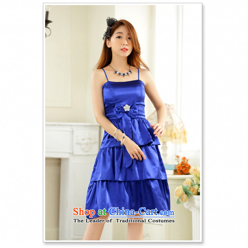 C.o.d. 2015 Summer new stylish sexy elegant drill clip anointed chest sister skirt evening dress bridesmaid skirt larger temperament small dress princess skirt blue XL