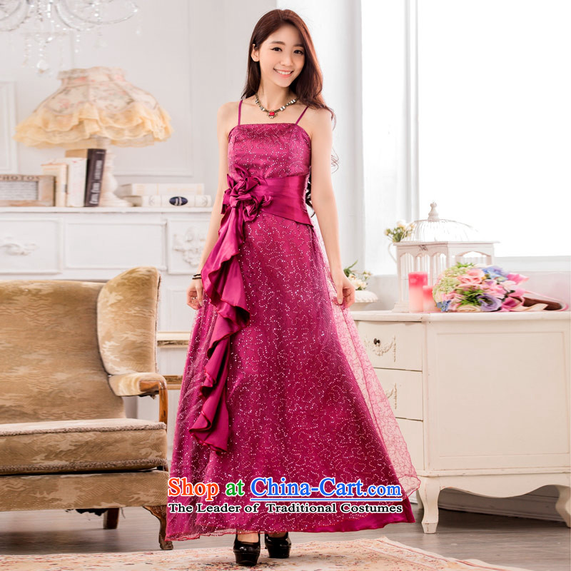 C.o.d. 2015 Summer new stylish casual elegance thick MM THIN super star graphics on-chip evening dress show service long large temperament dress purple聽XL