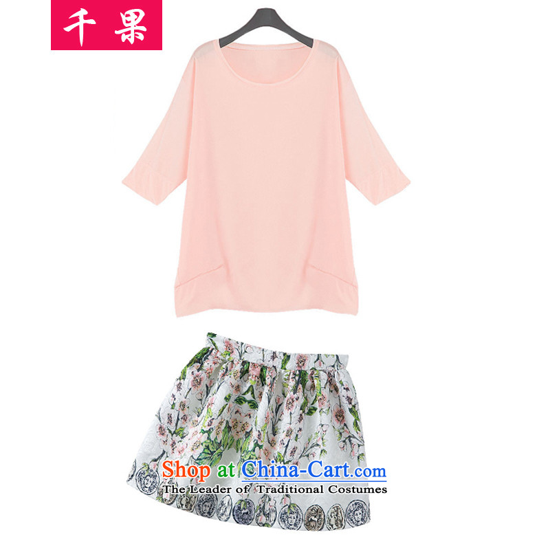 Thousands of large numbers of ladies thick Summer 2015 mm thick sister to intensify the loose video thin t-shirt + stamp short skirt kit two kits�008爌ink燲XL