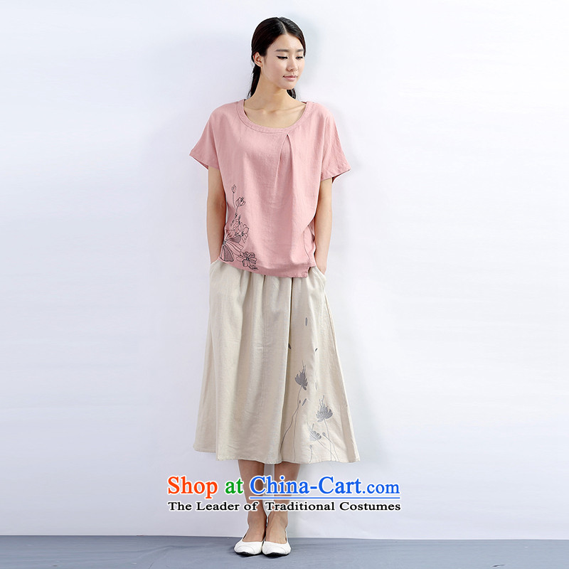 Poetry terrace flowers larger female summer to increase video thin loose long cotton linen dresses kit linen thick sister mm Red燬_100 catties of skirts to pass through_