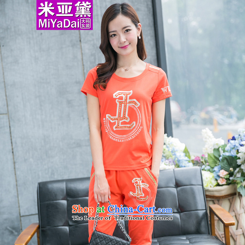 The Doi larger female kit fat mm Summer 2015 new Korean version thin to thick sister xlarge sports and leisure suite 200 catties orange燣 recommendations 100-120 catties_