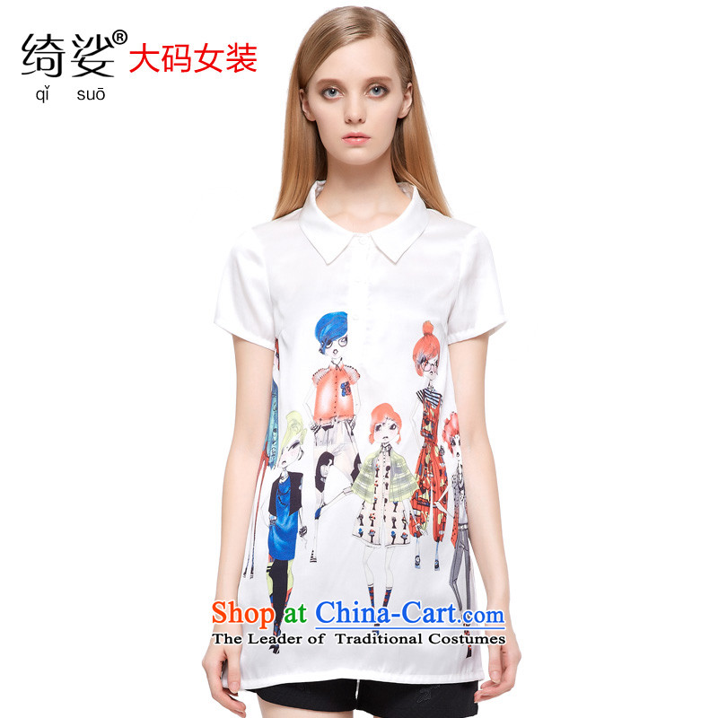 As provided for by 2015 Summer new larger female graphics card curs thin in the stamp long short-sleeved T-shirt chiffon Netherlands�80牋5XL White