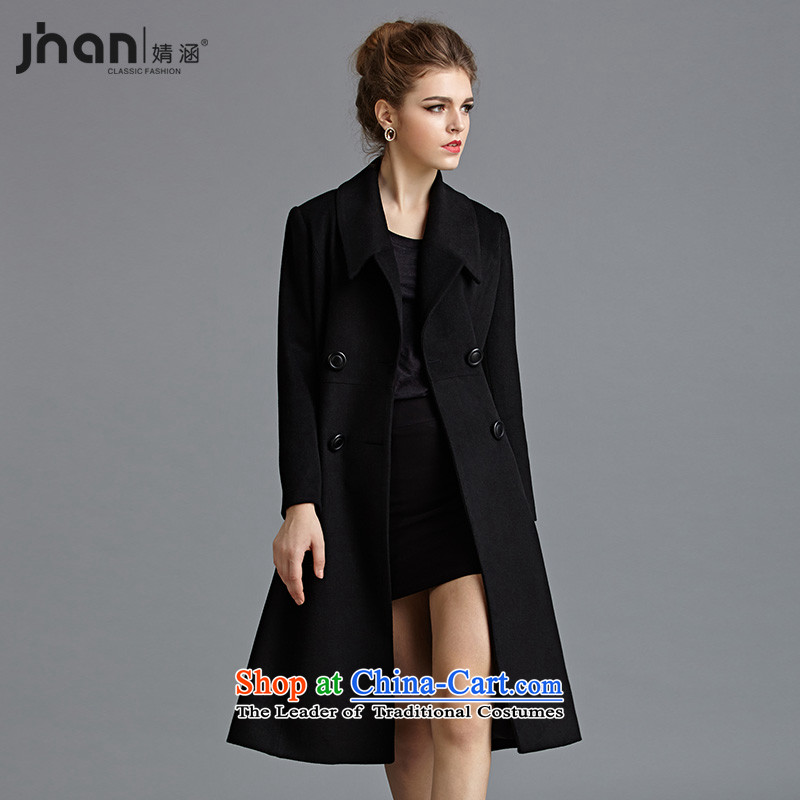 Subsequently covered by 2014 new autumn and winter female a wool coat video thin stylish look of Sau San Mao jacket coat terminal Connie? black S