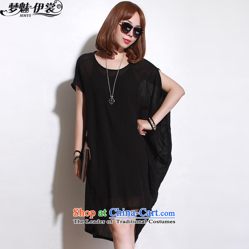 The staff of the Advisory Committee of the summer to increase women's code thick mm loose video graphics in thin long irregular cotton linen short-sleeved shirt skirts black single layer will loose