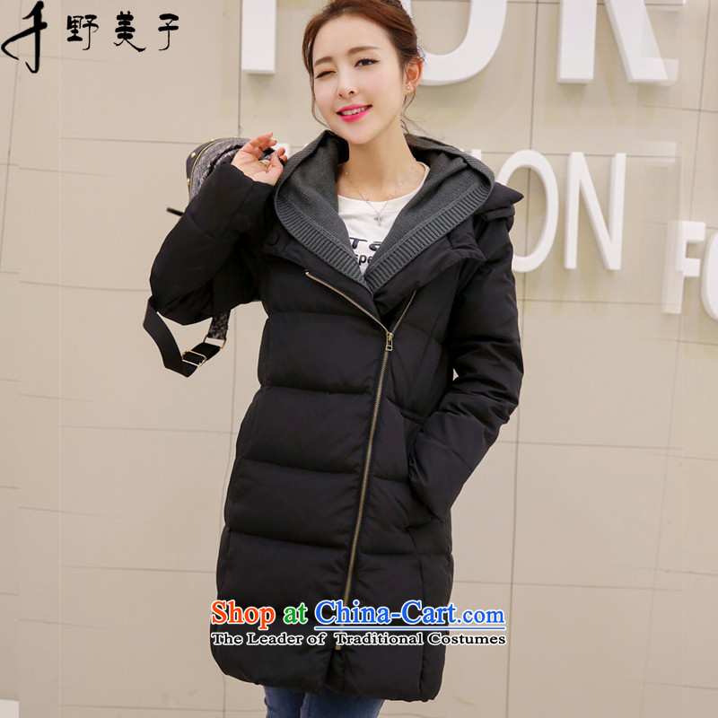 Chino Fumiko larger female winter coat in the female long a zipper knit with cap cotton coat leave two plain black聽4XL around 922.747 165-180