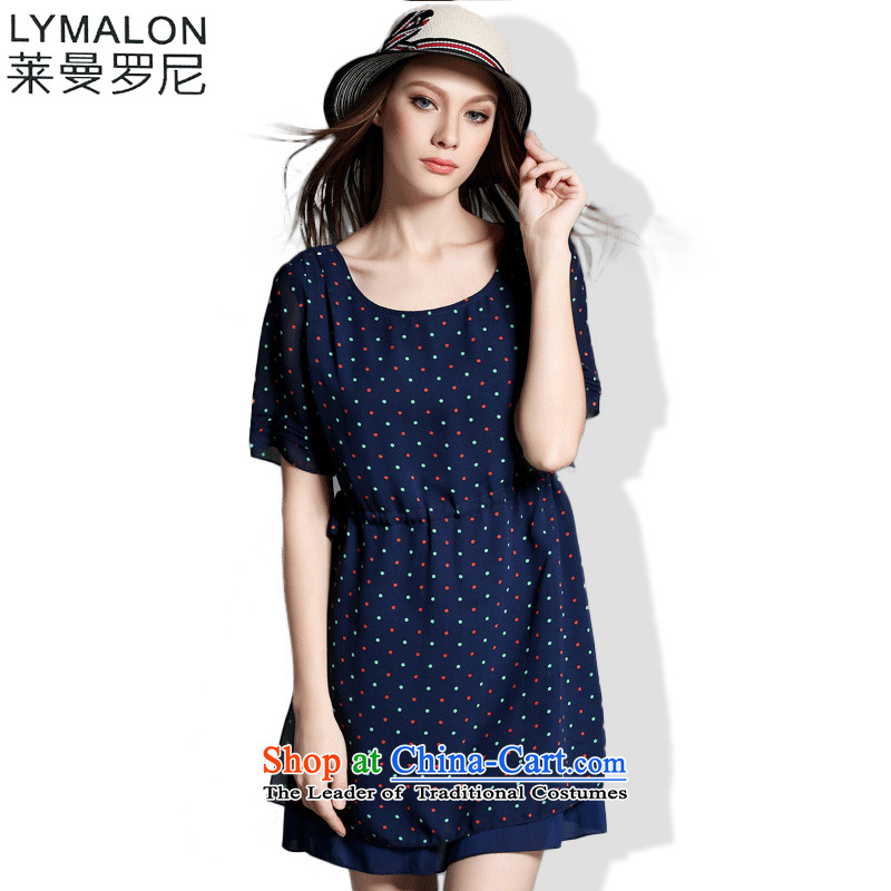 The lymalon Lehmann 2015 Summer Western New larger female loose neck long floral dresses 1209 Royal Blue燲L