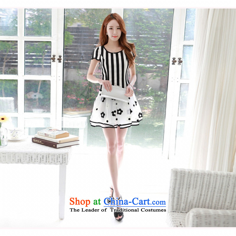 C.o.d. 2015 Summer new stylish look sexy Korean version of large code is elegant and relaxing streaks Sau San graphics pack of thin rammed the yarn dresses White燲XL