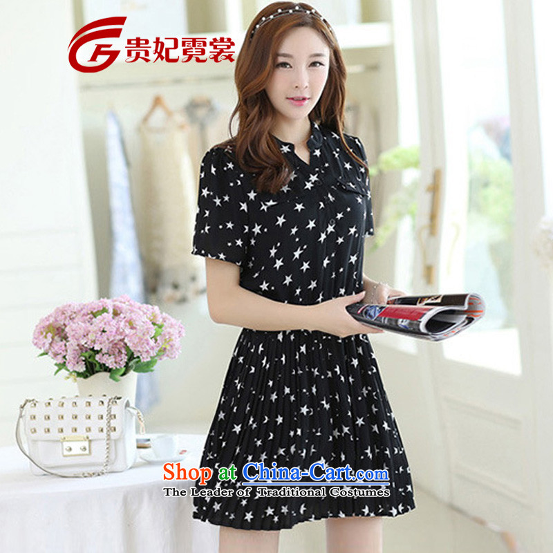 Tysan thick MM2015 Gwi-summer extra female graphics thin dresses XL Korean stars fold folds small short-sleeved dresses 1690 small planets 3XL recommendations 160-180 catty