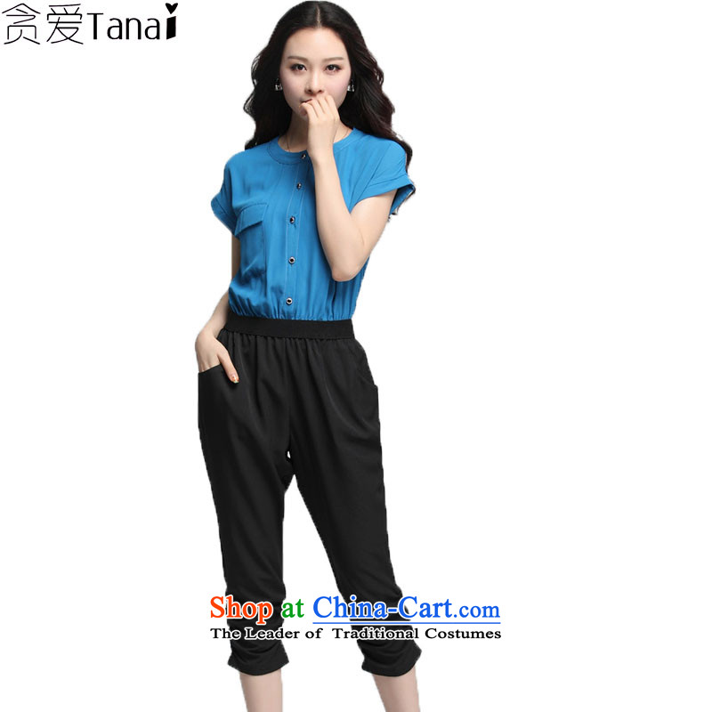 Coveted xl summer thick, Hin thin stylish ladies casual elastic waist short-sleeved 7-3756th light blue燲XXL trousers