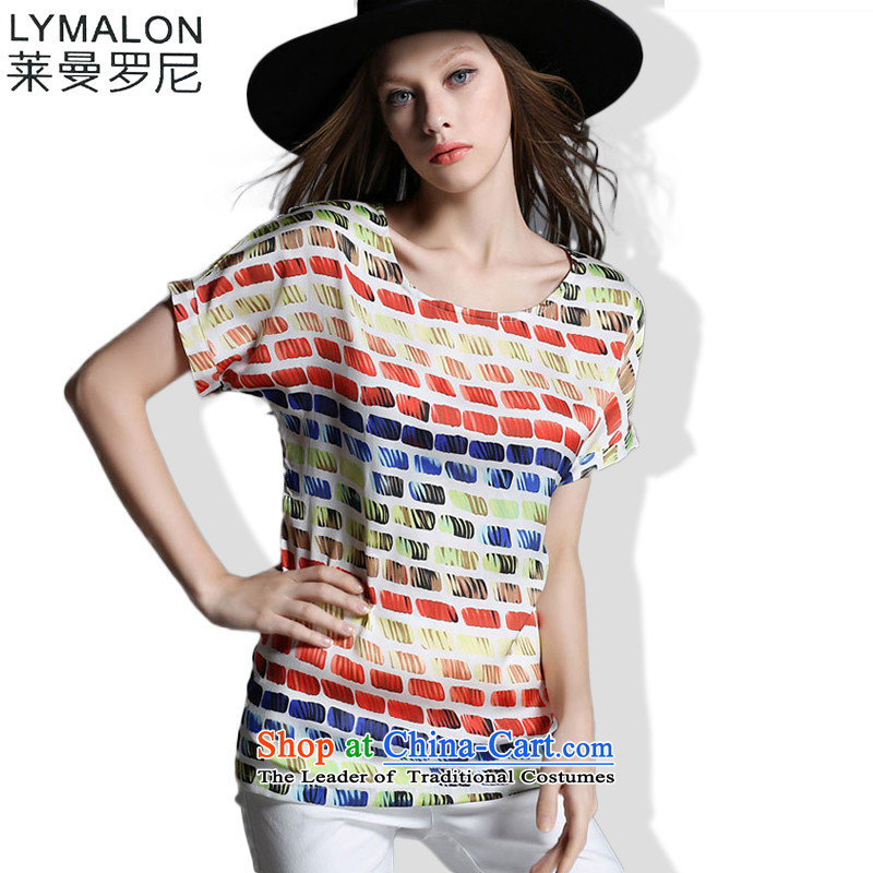 The lymalon2015 Lehmann Western summer new larger female loose fit short stamp stitching abstract tartan shirt color photo 1920燲L