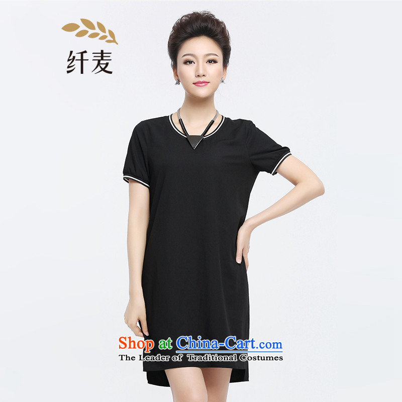 The former Yugoslavia Migdal Code women 2015 Summer new fat mm fashion, long Leisure T-shirt with round collar black�L 952103254