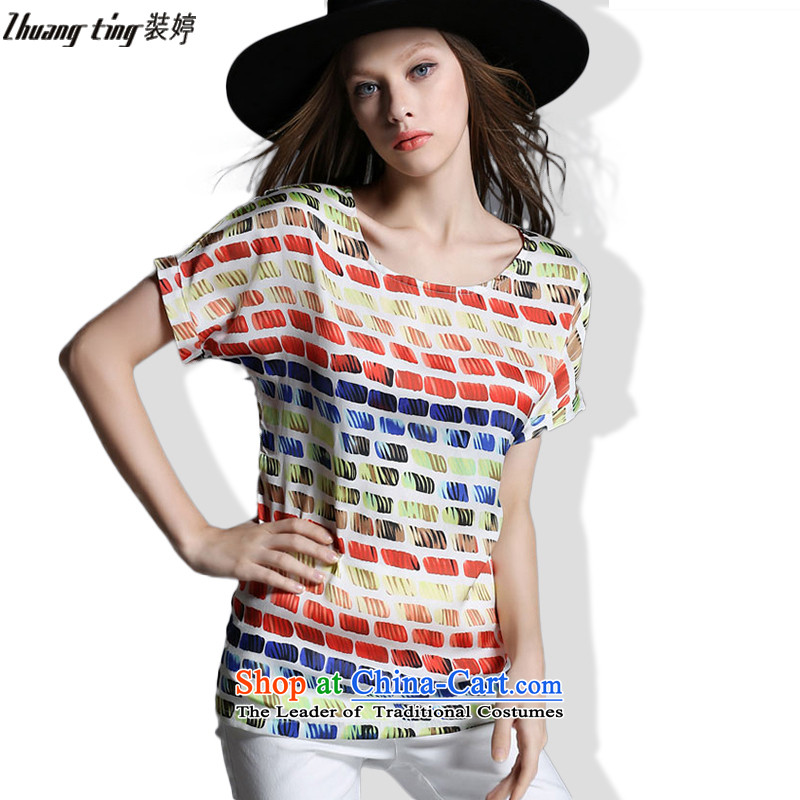 Replace zhuangting Ting 2015 Western new summer, large female round-neck collar stylish loose stamp chiffon T shirt color picture�L 1920