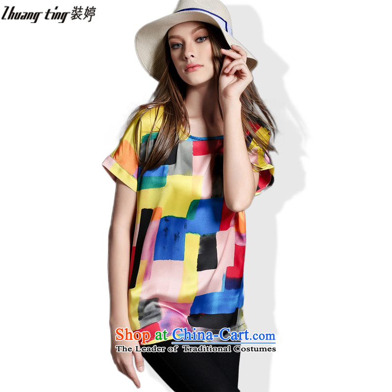 Replace zhuangting Ting 2015 Western new summer, large female loose fit short stamp stitching t-shirt with round collar 1905 color picture燲L