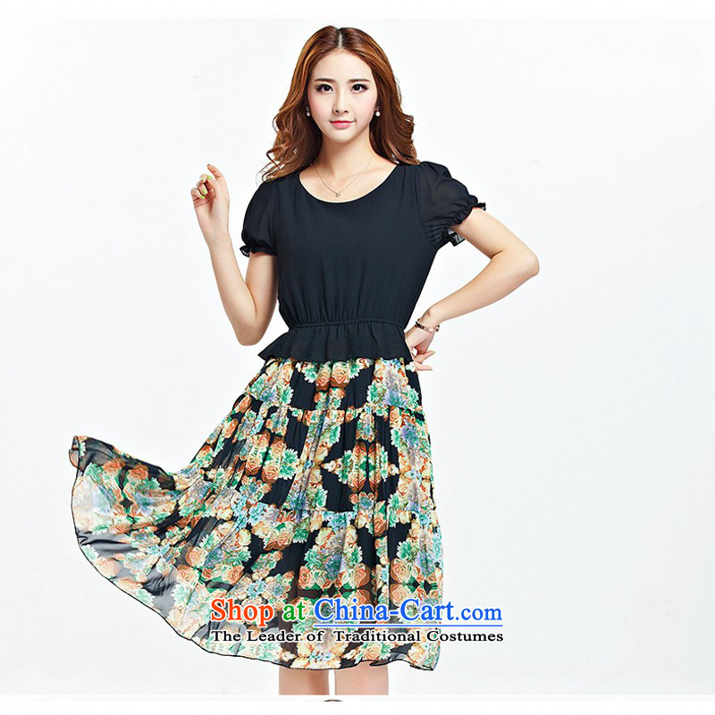 C.o.d. larger women 2015 Summer new Korean fashion woman thick MM Sau San video thin Bohemia in floral long chiffon dresses�L black