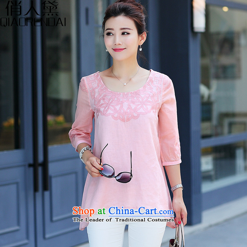 For the people by 2015 Summer Doi new cotton linen t-shirt female short-sleeved blouses and large middle-aged moms loose blouses female pink燣