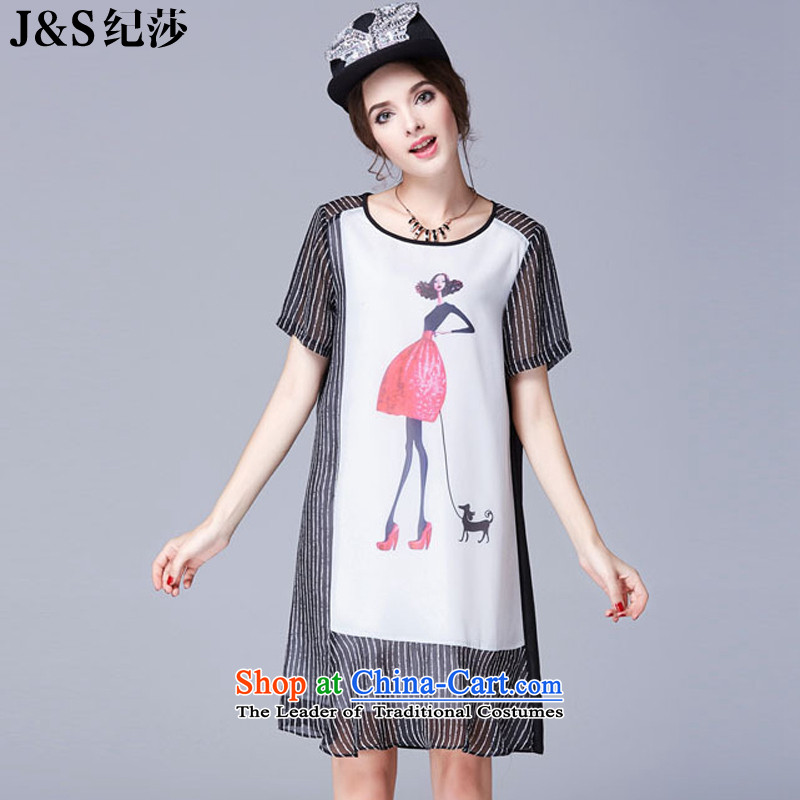 2015 European and American Women's large summer new thick mm xl dresses loose video thin short-sleeved燽lack streaks�L SN-3688- stamp