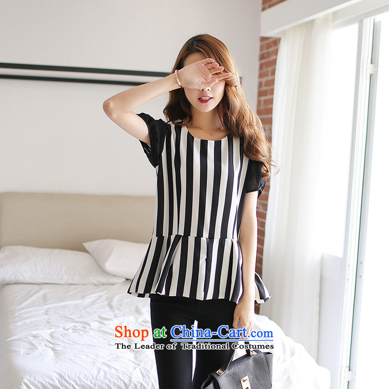 Maximum number of ladies 2015 Summer Korean New thick mm video thin commuter streaks short-sleeved T-shirt with round collar chiffon female black and white striped T-shirt燲L