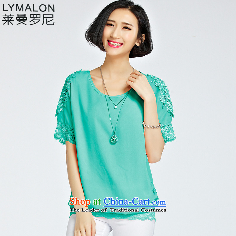 The lymalon Lehmann 2015 Western new summer, large female loose fit short-sleeved chain link fence engraving chiffon lace Netherlands 1222 light green燣
