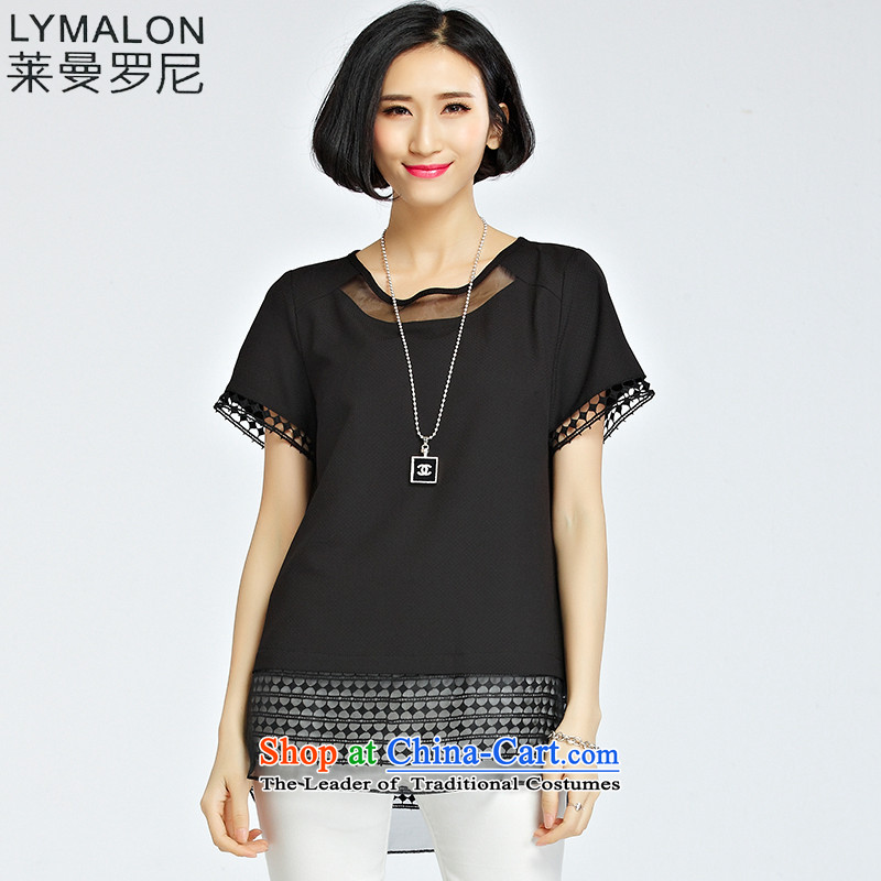 The lymalon Lehmann 2015 Korean new summer larger female loose fit short-sleeved chain link fence engraving chiffon lace shirt 1224 Black燲XL