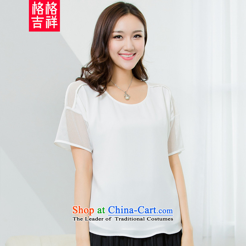 The interpolator auspicious�15 to increase the number of women with new summer thick mm video thin gauze stitching short-sleeved T-shirt chiffon Netherlands shirt X5562 female White燲L