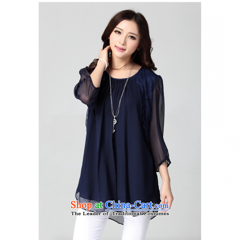 C.o.d. larger female short-sleeved T-shirt 2015 elegant woman loose video temperament and stylish new thick mm thin summer leisure video 7 cuff chiffon shirt�L Royal Blue
