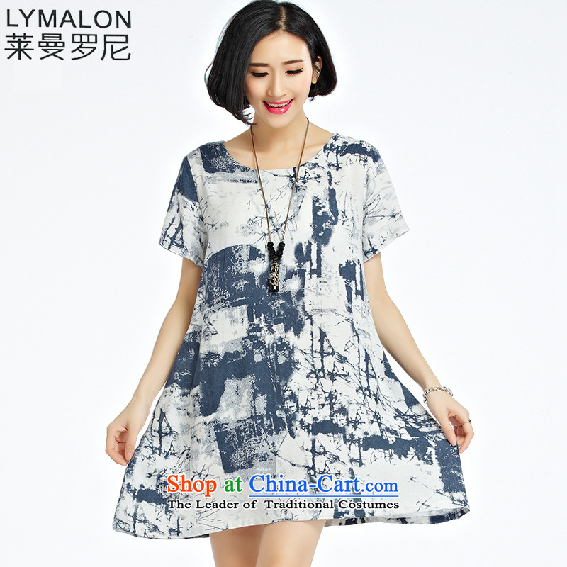 The lymalon Lehmann 2015 Western new summer, large female loose fit short-sleeved ink painting stamp cotton dress 1228 picture color�L