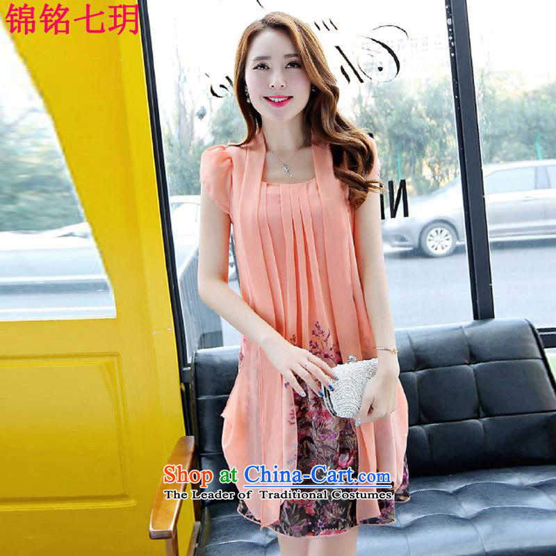 Kam Ming Yue�15 summer seven new larger female Korean Version Stamp short-sleeved chiffon dresses thick mm thin in the video long skirt pink燣
