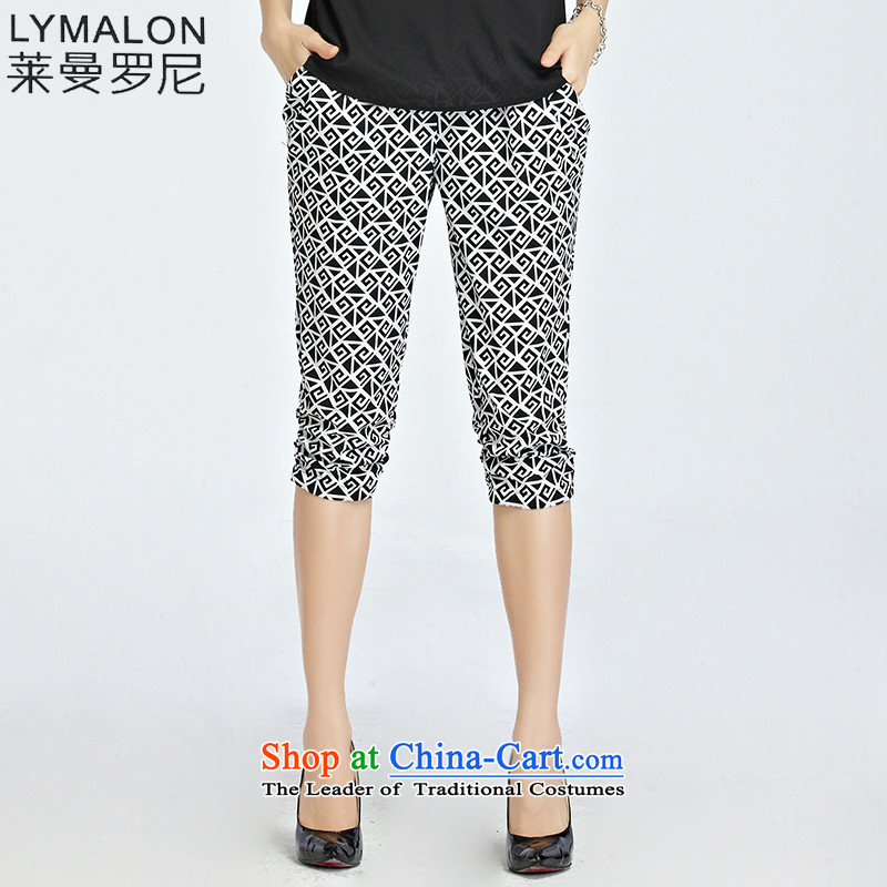 The lymalon Lehmann 2015 Western new summer, large stylish and relaxd dress casual stretch stamp Capri 1229 White XXL