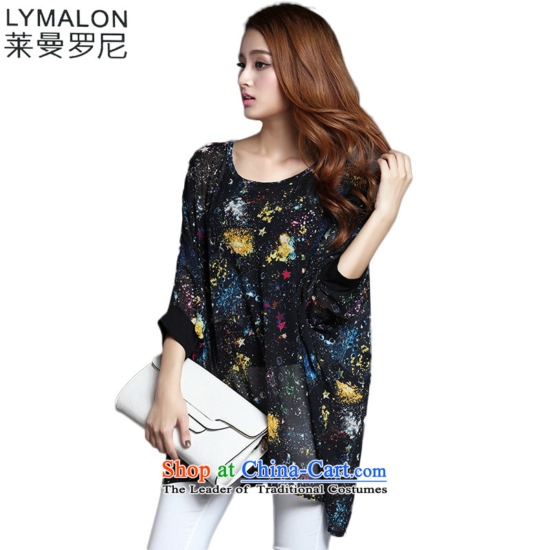 The lymalon Lehmann 2015 Western new summer, large female Loose Fit 7 to the Cuff stars stamp chiffon Netherlands 1231 Black燣