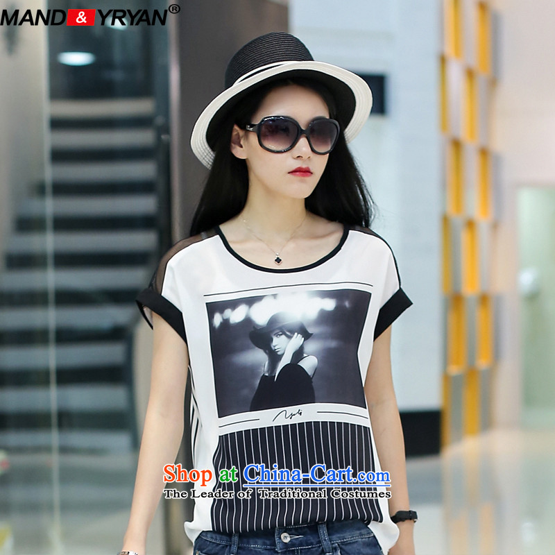 Mantile en Code women's summer T-shirts thick MM video thin short-sleeved T-shirt with round collar figure _MDR1773 stamp XL110-130 around 922.747