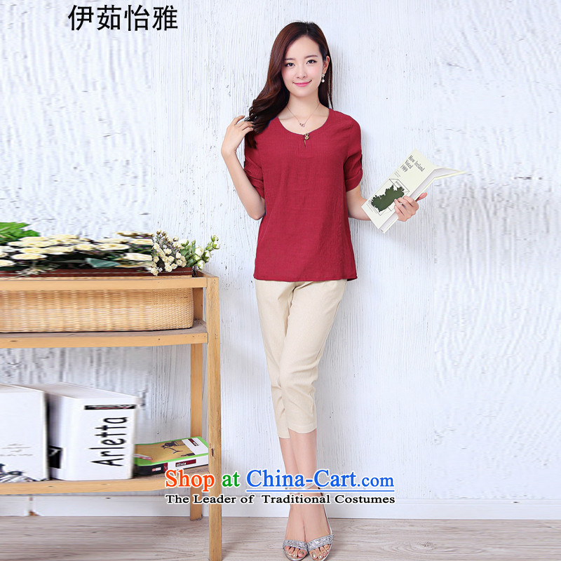 El-ju Yee Nga thick sister summer larger female cotton linen T-shirt + Capri two kits YJ0261 RED燲XL